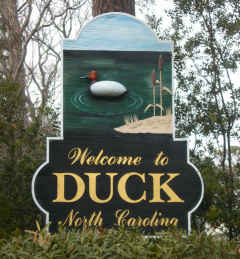 The Town of Duck sign
